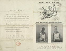 Advert for Vigor & Co's Hercules Horse-Action Saddle